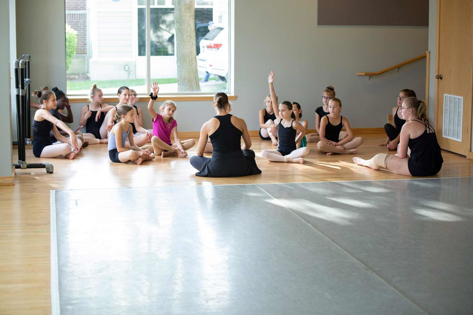 Teacher talking to dancers while sitting on the floor