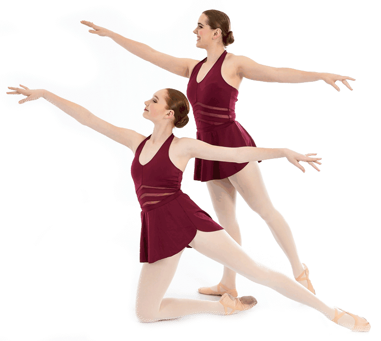 Two dancers in maroon streak a pose, one is standing while the other is on the ground